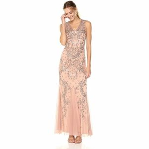 Adrianna Papell Beaded Godet Gown with V-Neck
